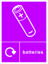 Purple background with white battery symbol and text Text: Batteries
