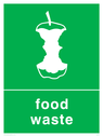 <p>Green background with white food waste symbol and text</p> Text: Food waste