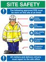 <p>PPE - Personal protective equipment site safety sign</p> Text: Site Safety The following approved PPE must be worn on this site at all times Hard hat Goggles High visibility clothing Protective gloves Safety boots All visitors and delivery drivers must report to the site office