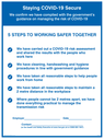 <p>Staying COVID-19 Secure 5 Steps to working safer together</p> Text: