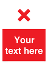 <p>Custom red background, red cross</p> Text: