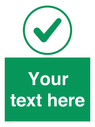 <p>Custom green background, green tick in circle</p> Text: