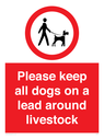 <p>Please keep all dogs on a lead around livestock</p> Text: