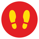<p>Red with yellow footprints symbol only</p> Text: Red with yellow footprints symbol only
