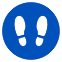 <p>Blue with white footprints symbol only</p> Text: Blue with white footprints symbol only
