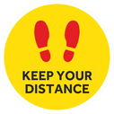 <p>Yellow with red footprints symbol only</p> Text: KEEP YOUR DISTANCE