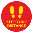 <p>Red with yellow footprints symbol and KEEP YOUR DISTANCE in yellow</p> Text: KEEP YOUR DISTANCE