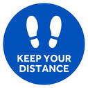 <p>Blue with white footprints symbol and keep your distance in white</p> Text: KEEP YOUR DISTANCE