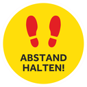 <p>Yellow with red footprints symbol only</p> Text: ABSTAND HALTEN!