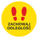 <p>Yellow with red footprints and ZACHOWAJ ODLEGLOSC / (KEEP YOUR DISTANCE in Polish)</p> Text: ZACHOWAJ ODLEGLOSC