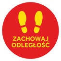 <p>Red with yellow footprints and ZACHOWAJ ODLEGLOSC / (KEEP YOUR DISTANCE in Polish)</p> Text: ZACHOWAJ ODLEGLOSC