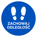 <p>Blue with white footprints and ZACHOWAJ ODLEGLOSC / (KEEP YOUR DISTANCE in Polish)</p> Text: ZACHOWAJ ODLEGLOSC