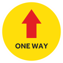 <p>Yellow with red arrow and ONE WAY in black</p> Text: ONE WAY