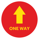 <p>Red with yellow arrow symbol and ONE WAY in yellow</p> Text: ONE WAY