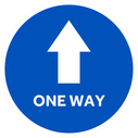 <p>Blue with white arrow and one way in white</p> Text: ONE WAY