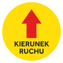 <p>Yellow with red arrow and KIERUNEK RUCHU / ONE WAY in Polish)</p> Text: KIERUNEK RUCHU