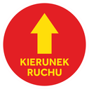 <p>Red with yellow arrow and KIERUNEK RUCHU / ONE WAY in Polish)</p> Text: KIERUNEK RUCHU