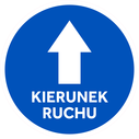 <p>Blue with white arrow and KIERUNEK RUCHU / ONE WAY in Polish)</p> Text: KIERUNEK RUCHU