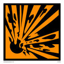 Explosive - CHIP - materials symbol, black on orange  Text: Explosive - CHIP - symbol only