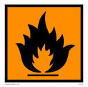 Flammable - CHIP - materials symbol, black on orange  Text: Flammable - CHIP - symbol only