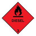 <p>diesel hazard diamond with flames symbol</p> Text: Diesel flammable diamond