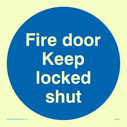FDKLS in blue circle Text: fire door keep locked shut (FDKLS)