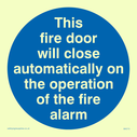 <p>Fire door closes automatically in blue circle</p> Text: this fire door will close automatically on the operation of the fire alarm