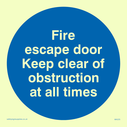 blue circle Text: fire escape door keep clear of obstruction at all times