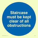 <p>staircase must be kept clear in blue circle</p> Text: staircase must be kept clear of all obstructions
