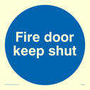 <p>FDKS in blue circle</p> Text: fire door keep shut (FDKS)