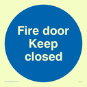 <p>fire door keep closed blue circle</p> Text: fire door keep closed