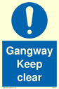 exclamation in blue circle Text: gangway keep clear