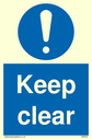 exclamation in blue circle Text: keep clear