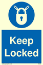 <p>keep locked with padlock in blue circle</p> Text: keep locked
