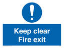 <p>Keep clear fire exit with exclamation symbol</p> Text: keep clear fire exit