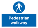 Pedestrian mandatory symbol Text: Pedestrian walkway