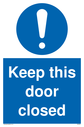 General mandatory symbol Text: Keep this door closed