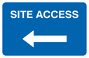 <p>Site access with arrow left</p> Text: Site access
