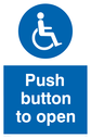 <p>Push button to open with wheelchair symbol</p> Text: Push button to open
