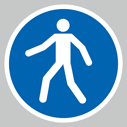 <p>Pedestrians only symbol floor graphics</p> Text: Pedestrians only symbol only floor graphics
