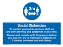 <p>To protect yourselves and our staff we<br />are only allowing one customer in at a time.<br />Please wait outside until the person before<br />you has left. try to maintain a distance of<br />2 metres between you and others.</p> Text: To protect yourselves and our staff we are only allowing one customer in at a time.