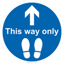 <p>This way only with foot prints symbol</p> Text: This way only with an arrow and foot prints symbol
