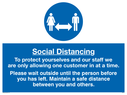 <p>Social distancing to protect you and our staff</p> Text: