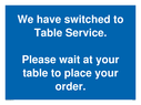 <p>We have switched to Table Service. Please wait at your table to place your order.</p> Text: