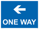 <p>One way with left directional arrow</p> Text: