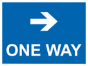 <p>One way with right directional arrow</p> Text:
