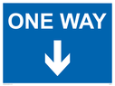 <p>One way with down directional arrow</p> Text: