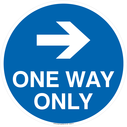 <p>One way only with right directional arrow</p> Text: