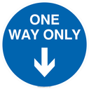 <p>One way only with down directional arrow</p> Text: