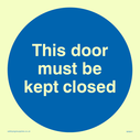 <p>This door must be kept closed in blue circle</p> Text: This door must be kept closed